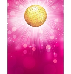 Abstract golden with disco ball EPS 10 vector image
