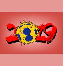 abstract number 2019 and handball ball from blots vector image