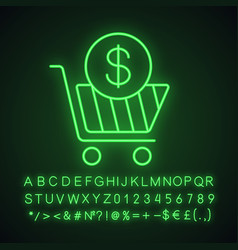Add to cart neon light icon vector