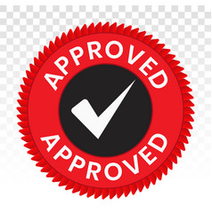 Approved seal stamp on a transparent background vector
