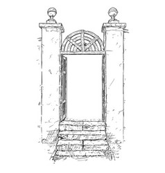 Artistic drawing of decorated garden gate vector