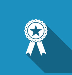 award medal with star and ribbon icon isolated vector image