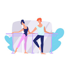 ballet dancers practicing movements in studio vector image
