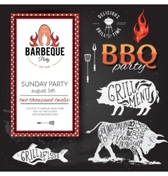 Barbecue party invitation BBQ brochure menu vector image