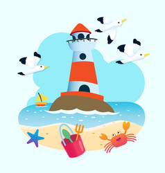 beautiful lighthouse with seagull vector image