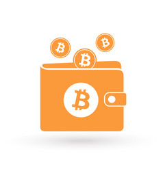 Bitcoin orange wallet with logo and falling coins vector