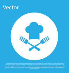 Blue chef hat and crossed fork icon isolated on vector
