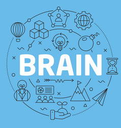 blue line flat circle brain vector image