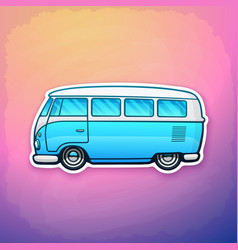 Blue retro hippie van freedom for road trip vector