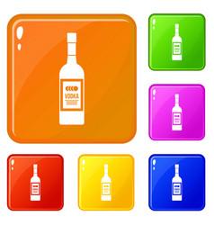Bottle vodka icons set color vector