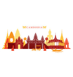 Cambodia landmarks skyline colourful vector