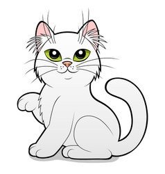 Cartoon white cat vector image