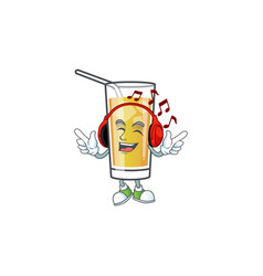 Character listening music in apple cider vector