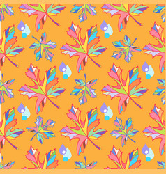 Colorful maple leaves on an orange backgro vector