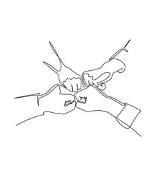 continuous line drawing hands team bumping vector image