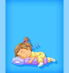 cute girl sleeping cartoon character isolated vector image