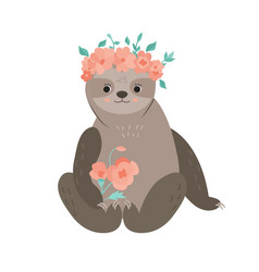 Cute girl sloth with bouquet in a flower wreath vector