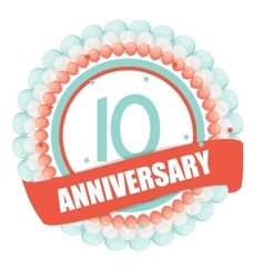 Cute Template 10 Years Anniversary with Balloons vector