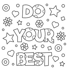 do your best coloring page vector image