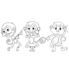 Doodle animal for three monkeys vector