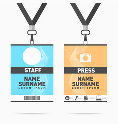 Event staff and press id cards set with lanyards vector