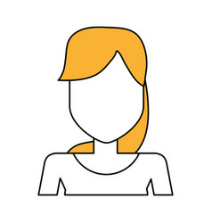 Faceless woman with long straight hair portrait vector