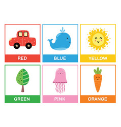 Flashcards with main colors - red blue yellow vector