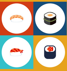 Flat icon sashimi set of eating gourmet sushi vector