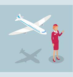 Fly attendant stewardess set vector