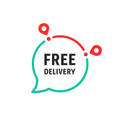 free delivery message in linear bubble vector image