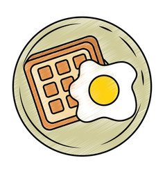 fried egg and bread vector image