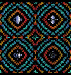 Geometric textured embroidery seamless pattern vector