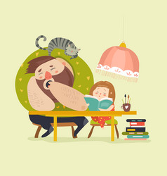 Girl with dad doing homework vector