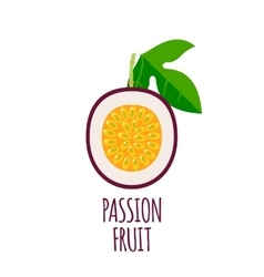 Half of passion fruit Icon in flat style vector