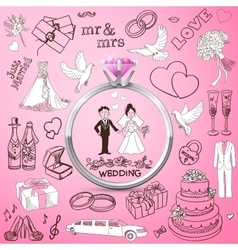 Hand drawn collection of decorative wedding design vector