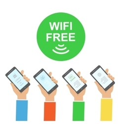 Hand holding smartphone with free wifi wireless vector