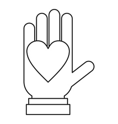 Hand with heart icon outline style vector