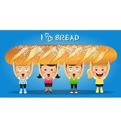 Happy people carrying big french bread vector