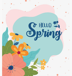 happy spring flowers leaves foliage color spots vector image