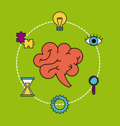 human brain creativity ideas business think vector image