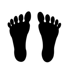 human feet black silhouette symbol footprint with vector image