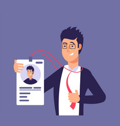 Id card concept employee man with identity badge vector