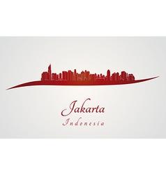 Jakarta Skyline in red vector