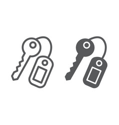 key line and glyph icon close and safety unlock vector image