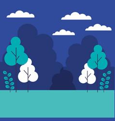 landscape trees plants sky scene vector image
