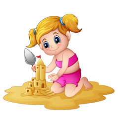 Little girl making sandcastle at beach vector