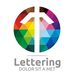 Logo Abstract Lettering T Rainbow Alphabet Icon vector image