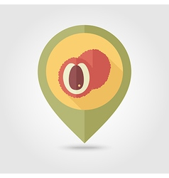 Lychee flat pin map icon Tropical fruit vector