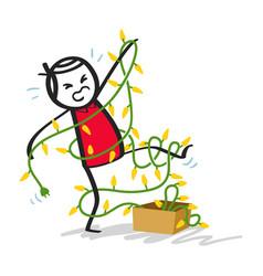 Man entangled in christmas lights funny cartoon vector