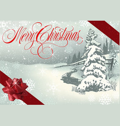 Merry christmas greeting with winter landscape vector